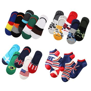 5 Pairs Men Socks Summer Spring Invisible Boat Sock Non-slip Silica Gel Male Fashion Cotton Striped Colorful Flag Art Sock Meias