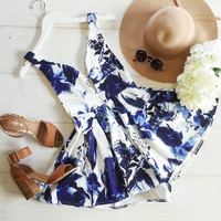 Women Summer Fashion Jumpsuit  Sexy Deep V Neck with Tropical Print Design Tank Sleeve Playsuit = 1667439044