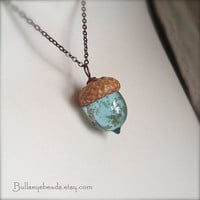 Mini Glass Acorn Necklace - Pale Aquamarine with Goldstone Sparkle by Bullseyebeads