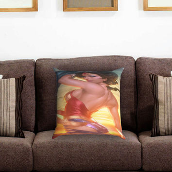 Wonder Woman Pillow Cover , Custom Zippered Pillow Case One Side Two Sides