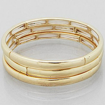 Womens Jewelry, Simple Metal Stretch Multi Bracelets Color : Gold Size : Each Bracelet Height:5mm