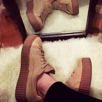 Clear Stocks Womens Genuine Suede Leather Sport Platform Trainer Creepers Skate Running Shoes