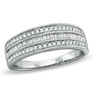 3/8 CT. T.W. Baguette and Round Diamond Fashion Band in Sterling Silver