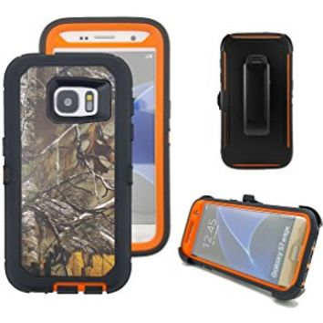 Galaxy S7 Holster Case, Harsel® Defender Series Heavy Duty Tree Camo Impact Scratch Resistant Full Body Military w' Belt Clip Built-in Screen Protector Case Cover for Galaxy S7 - Xtra Orange