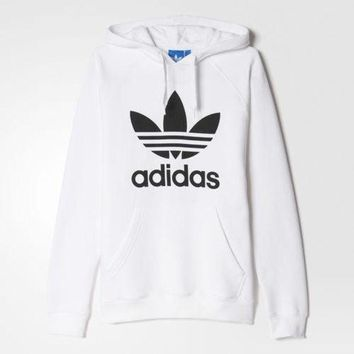 """""""Adidas"""" Fashion Print Hooded Pullover Tops Sweater Sweatshirts White"""