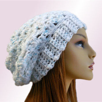 SLOUCHY Beanie Hat Crochet Pale Blue-ish Green Slouchie Beany Knit Slouch Knit Hat Pale Blue/Green Gift Idea 2015
