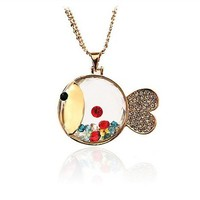 colorful rhinestone lovely fish necklace