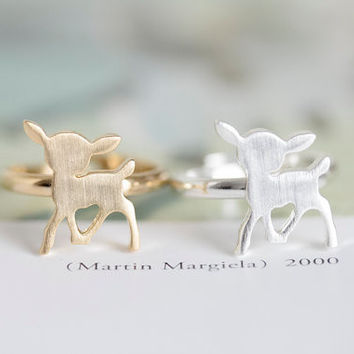 New Fashion unique adjustable animal fawn bambi ring For Women JZ205