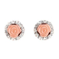 Rhinestone Rosette Stud Earrings: Charlotte Russe