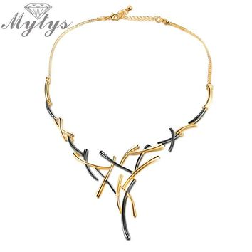 Mytys Two Tone Gold Geometric Cross Gold Gun Mix Color Yellow and Black Metallic Necklace Statement Punk Jewelry for Women CN363