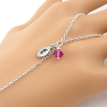 Personalized Silver Slave Bracelet, Hot Pink Silver Chain Body Jewelry Chain Ring with Initial Letter Charm
