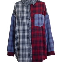 PATCHWORK PLAID LOOSE FIT SHIRT