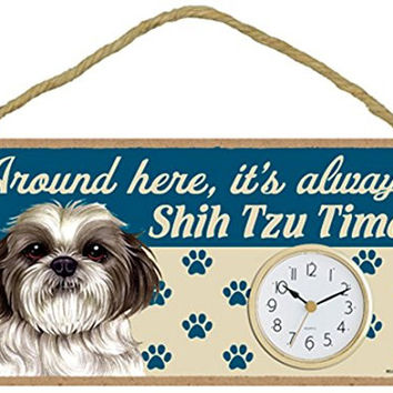 "Around Here, It's Always Shih Tzu Time! (v2) 10""W x 5""H Wall or Desk Dog Clock with Bonus ""I Love My Dog"" Decal"