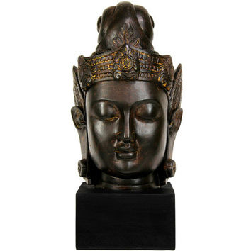 "Oriental Furniture 16"" Large Cambodian Buddha Head Statue in Faux Antique Bronze Patina"