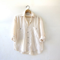 vintage cream white silk shirt. slouchy silk blouse. silk pocket shirt. long sleeve silk top.