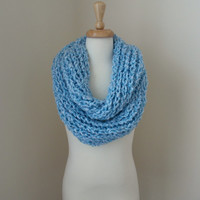 Women's Fluffy Carolina Blue Ribbed Infinity Scarf - Soft Warm Stylish - Light blue - UNC