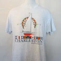 Vintage Amazing 80s CHARLESTON SOUTH CAROLINA Yacht Sailing Summer Beach Graphic Soft Unisex Medium T-Shirt