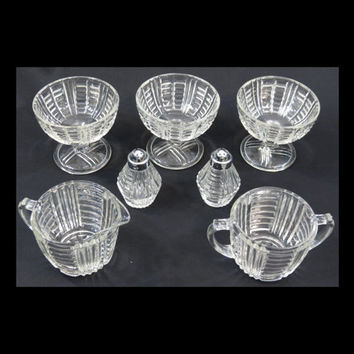 Anchor Hocking AHC34 Clear Pattern Glass Salt & Pepper, Creamer, Sugar and 3 Footed Dessert Glasses