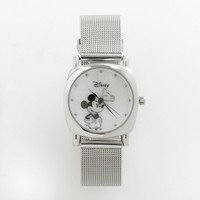 Disney Mickey Mouse Silver Tone Mesh Watch - Women (Grey)