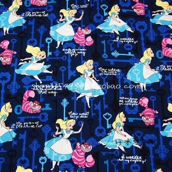 140X100cm Girls Alice in Wonderland Blue Key Cotton Fabric for Baby Girl Clothes Bedding Set Hometextile Patchwork DIY-AFCK069