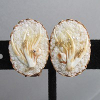 Pretty White Coral, Seed Pearl & Shell Earrings 1960's Vintage Earrings