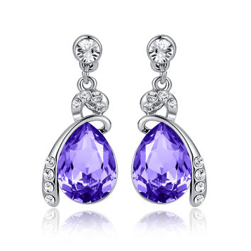 Eternal Love Teardrop Swarovski Elements Crystal Drop Earrings - Violet Purple