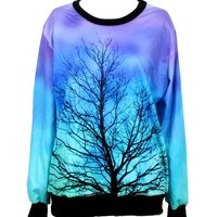 Injoy Neon Galaxy Cosmic Colorful Patterns Print Sweatshirt Sweaters (Free size, Tree of Life)