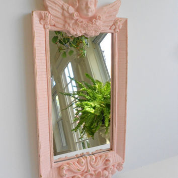 Wall Mirror - Ornate Shabby Chic Framed Mirror - Cherub Angel - Cottage Pink - Distressed Finish - Baby Nursery - Wall Decor