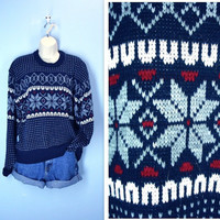 Vintage 1970s Sweater / Snowflake Ski Lodge Sweater