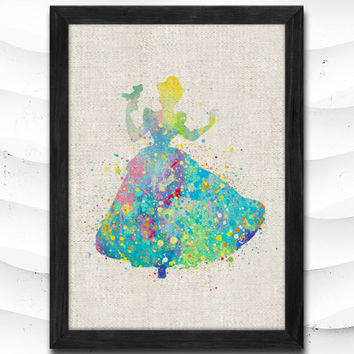 Cinderella Disney Watercolor Art Print Home Decor Giclee Wall Art Poster Wall Decor Art Home Decoration Linen Poster CAP22
