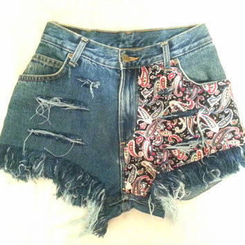 Denim shorts paisley MADE TO ORDER
