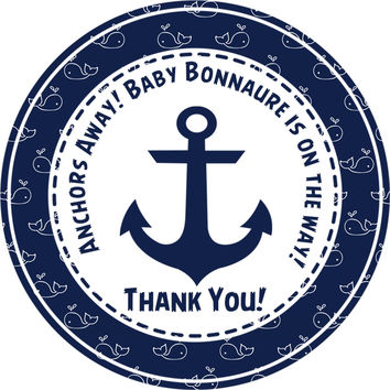 """Boys Nautical Baby Shower Stickers Or Favor Tags - 2.5"""" Round"""