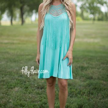 Fringed Dream Dress in Mint