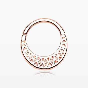 Rose Gold Ceres Filigree Septum Twist Loop Ring
