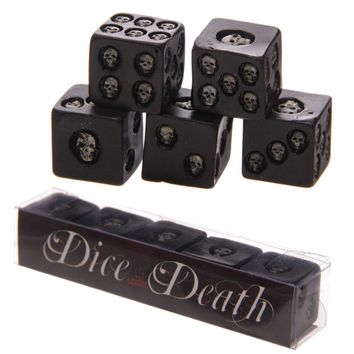5Pieces/Set Gambling Skulls Dice with Death Nemesis Black Grinning