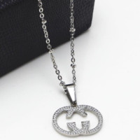 GUCCI titanium steel double G hollow diamond rose gold necklace clavicle chain birthday gift Steel