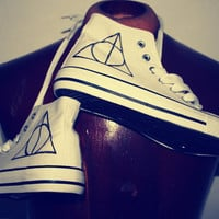 Harry Potter - Deathly Hallows - Customised Hi-Top Trainers - Dumbledore - Hand Painted