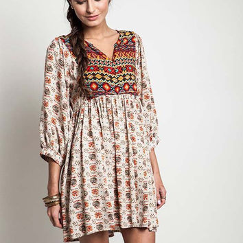 Taupe Mix Boho Babydoll Tunic Dress