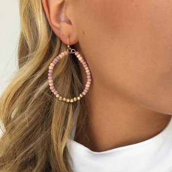 Blushing Beads Hoop Earrings