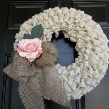 "16""  Off White Color Burlap Wreath/  Light Pink Rose, door wreath, wall decor, Mothers  Day"