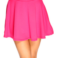 Fuchsia Short Length Sexy Summer Skater Skirt