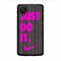 Nike Just Do It Wood Colored Darkwood Wooden Pink Nexus 5 Case