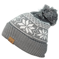 NYfashion101 Exclusive Snowflake Pattern Pom Pom Winter Cuff Beanie Hat - Gray