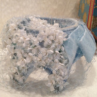 Vintage Blue Veiled Flower Hat with Hat Box 50s