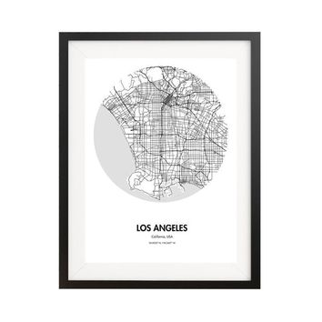 Los Angeles Map Poster - 18 by 24 inch City Map Print