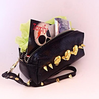 Skulls n Spikes Genuine Leather Clutch Coin Purse Wallet with Key Ring & Gold Spikes  Zippered Compartments + Carry Strap