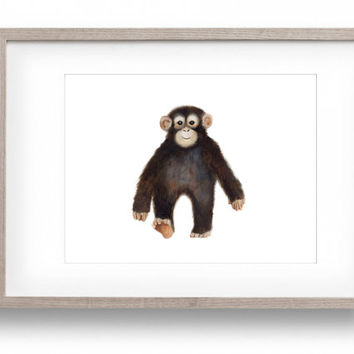 Jungle Nursery, Baby Monkey, Chimp Painting, Zoo Animals, Modern Nursery Decor, Baby Wall Art, Safari Nursery Print, Toddler Room Artwork