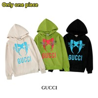 GUCCI fashion new hot hooded printed cotton sweater
