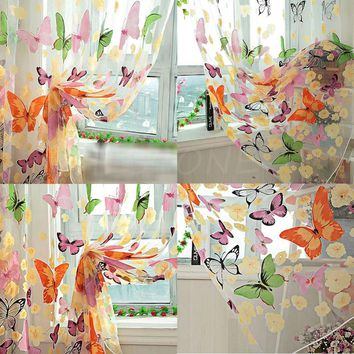 1 Butterfly Print Sheer Curtain Panel Colorful Window Balcony Tulle Room Divider-S127