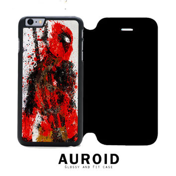 Deadpool Paint Splat iPhone 6S Flip Case Auroid